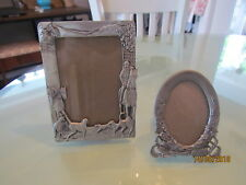 Seagull Pewter Small Oval Flower Picture Frame & Hunter Dog Frame 1989