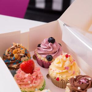 25Stk. Bio Karton 4er 6er 12er Cupcake Muffin Boxen mit Einlage und PLA Fenster