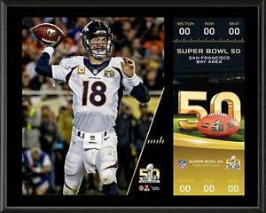 Peyton Manning Broncos 12x15 Super Bowl 50 Champions Plaque with Replica Ticket