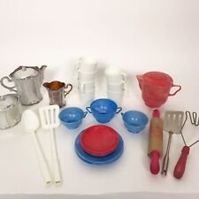 Vintage Kids Play Dishes Plates Cups Coffee Urn Wood Rolling Pin Lot Of 30 Pcs