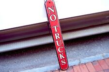 Carved Wood Single Sided No Trucks Sign 41 Inches Long See 8 Pics