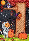 ACEO Original Fantasy Animal Halloween Cat Mummy Candy Squirrel Moon Stars