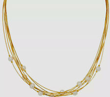 """14K yellow gold On Honora Cultured Pearl Multi-strand 18"""" Sterling Necklace QVC"""
