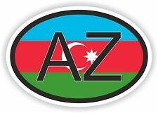 Azerbaijan COUNTRY CODE OVAL WITH FLAG STICKER bumper decal car helmet
