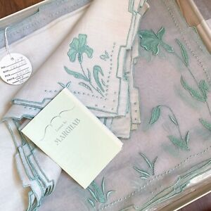 Vintage Marghab Linens in Box 16 Piece Set IRIS Placemats Napkins Embroidered