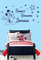 Mickey Mouse SWEET DREAMS personalised Name Girls-Boys  Wall Stickers Stiker