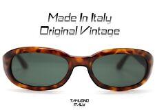 OCCHIALI DA SOLE VINTAGE UOMO DONNA rettangolare marrone maculato Made In Italy