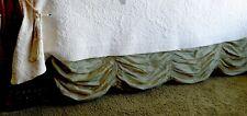 "Soft Surroundings Silk Provencal Swag Bedskirt King Sage 17"" Orig $239"