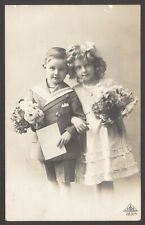 A Bonnie Pair - Brother & Sister Perhaps ? 1913 Chatham Postmark Real Photo PC