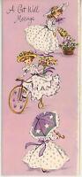 VINTAGE GARDENER FLOWERS GIRL BICYCLE PARASOL PRINT 1 WILLIAMSBURG  ART CARD