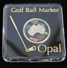 Golf Ball Marker Tee Opal Chip Australian Made Souvenir Map Gold Plated Boxed