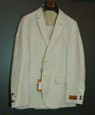 Linen 100% suit ENZO Italy Limited Edition size 40R waist 34 2 buttons 2 vents