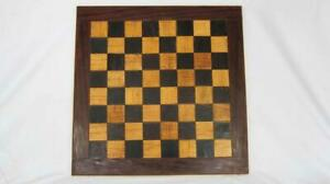 """SUPERB VINTAGE 16"""" WOODEN CHESS BOARD with 2"""" (50mm) SQUARES"""