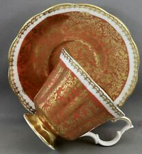 ROYAL ALBERT TEACUP & SAUCER-BUCKINGHAM SERIES/GOLD & BRUNT ORANGE  L 859