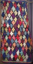 """Vintage Moroccan boucherouite Woollen Rag Rug 171 x 85 cm, 5' 7"""" x 3'"""