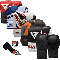 RDX Leather Boxing Gloves Fighting Training MMA Kickboxing Punch Bag Muay thai C