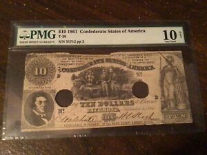 1861 $10 Ten Dollar T-30 Confederate Note PMG 10 very good