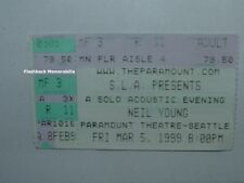 NEIL YOUNG Concert Ticket Stub 1999 SEATTLE Paramount Theatre CSN&Y Springfield