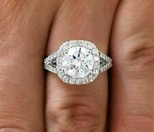 Moissanite Engagement Ring 14K White Gold Over New listing 2.0 Ct Brilliant Round Cut Halo
