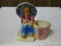 "Shawnee Pottery Planter Blue & Red Chinese Man 617 USA 5 1/4"" x 5 1/4"""