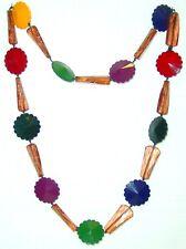 BIGIOTTERIA - Collana  c/perle di plastica multicolore e trasparenti