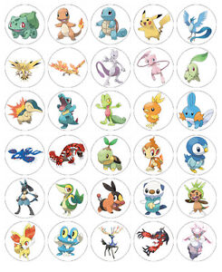 POKEMON EDIBLE WAFER CUPCAKE FAIRY CAKE TOPPERS DECORATIONS x 30