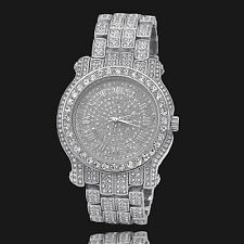 Mens CZ Fully Iced out Silver Plated Metal Silver Face Hip Hop Wrist Watch Tn2