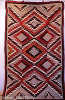 "Antique Navajo Red Mesa Outline Motif Eyedazzler Rug c.1920s 86"" x 52"""