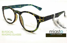 ~ LOT OF 2 ~ MIASTO BIFOCAL ROUND CLEAR READER READING GLASSES GLASSES +2.00