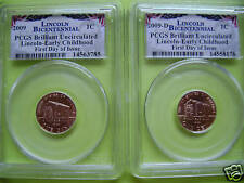 2009 LINCOLN P/&D PCGS BRILLIANT UNCIRCULATED EARLY CHILDHOOD FDI 2-COIN SET
