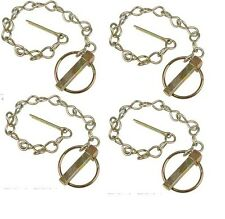 """4 Linch Pins w/ Chain Ford Tractor 7/16"""" pin dia x 1-5/8"""" long 1-11/16"""" ring dia"""