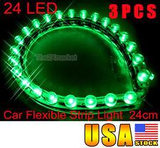 3pcs 24 LED Car Neon Flexible 12V Strip Green Light 24cm 12V Waterproof Bulbs