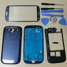 Full Housing Case + Screen Glass Lens + Tools For Samsung Galaxy S3 i9300 Blue