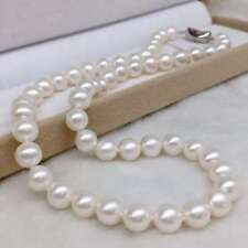 classic 10-12mm south sea round white pearl necklace 18inch 925s