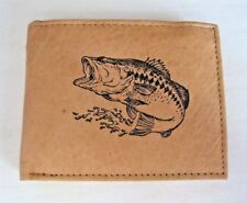 Mens Leather Bi-Fold Wallet/ Billfold-LARGE MOUTH BASS FISHING Image *Great Gift