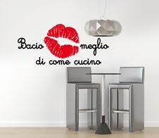 00205 Wall Stickers Adesivi Murali aforisma cucina bacio 120x55 cm
