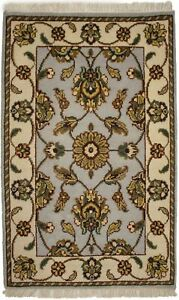 Hand-Knotted Light Gray Floral 2X3 Agra Jaipur Oriental Rug Small Size Carpet