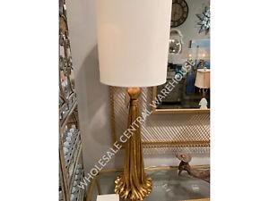 "37"" ANTIQUED METALLIC GOLD TABLE BUFFET LAMP DRAPERY INSPIRED DESIGN PARAVANI"