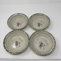 "4 bowls We Can Build A Snowman Stoneware Green Spongewear Christmas Retired 7"""
