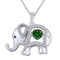 "New 14CT White Gold Over Heart Emerald & Diamond Elephant Pendant 18"" Chain"