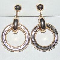 Vintage signed Coro light gold tone drop dangle circle hoop screwback earrings
