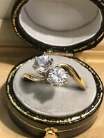 Vintage 18ct Gold Cubic Zirconia Ring Size M1/2