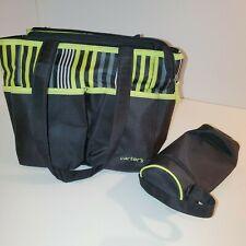 Carter's Small Green Striped Diaper Bag Travel Baby Bag with Bottle Holder