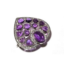 925 Sterling Solid Silver Natural Amethyst Gem Stone Brooch Men's Jewelery