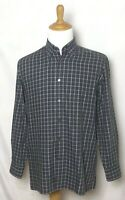 Canali Mens Long Sleeve Shirt Large Gray Purple Plaid Soft Cotton Made In Italy