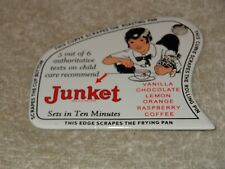"VINTAGE JUNKET ICE CREAM + BOY 4"" PORCELAIN METAL POT & PAN SCRAPER GAS OIL SIGN"