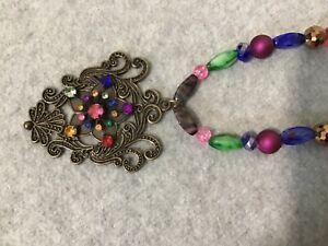 """OOAK Handmade 20"""" Plus Bronze Rhinestone Pendant Beaded Necklace NEW #N16-YD"""