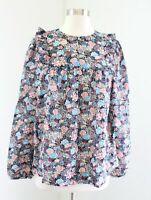 J Crew Paisley Floral Print Ruffle Blouse Top Size Medium M Tall MT Blue Pink