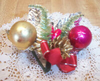 VINTAGE CHRISTMAS CORSAGE 2 GLASS BALLS PINE CONE BOTTLE BRUSH TREES ETC
