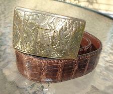 fine J M Davidson brown alligator skin belt 30
